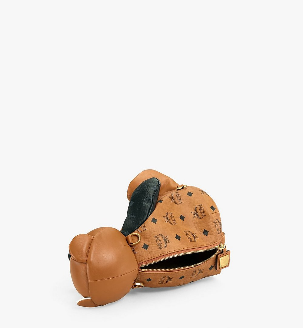 MCM MCM Zoo Bear Backpack in Visetos Leather Mix Cognac MWKBSXL01CO001 Alternate View 2