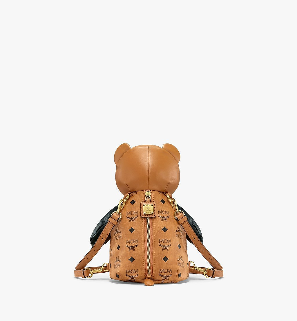 MCM MCM Zoo Bear Backpack in Visetos Leather Mix Cognac MWKBSXL01CO001 Alternate View 3