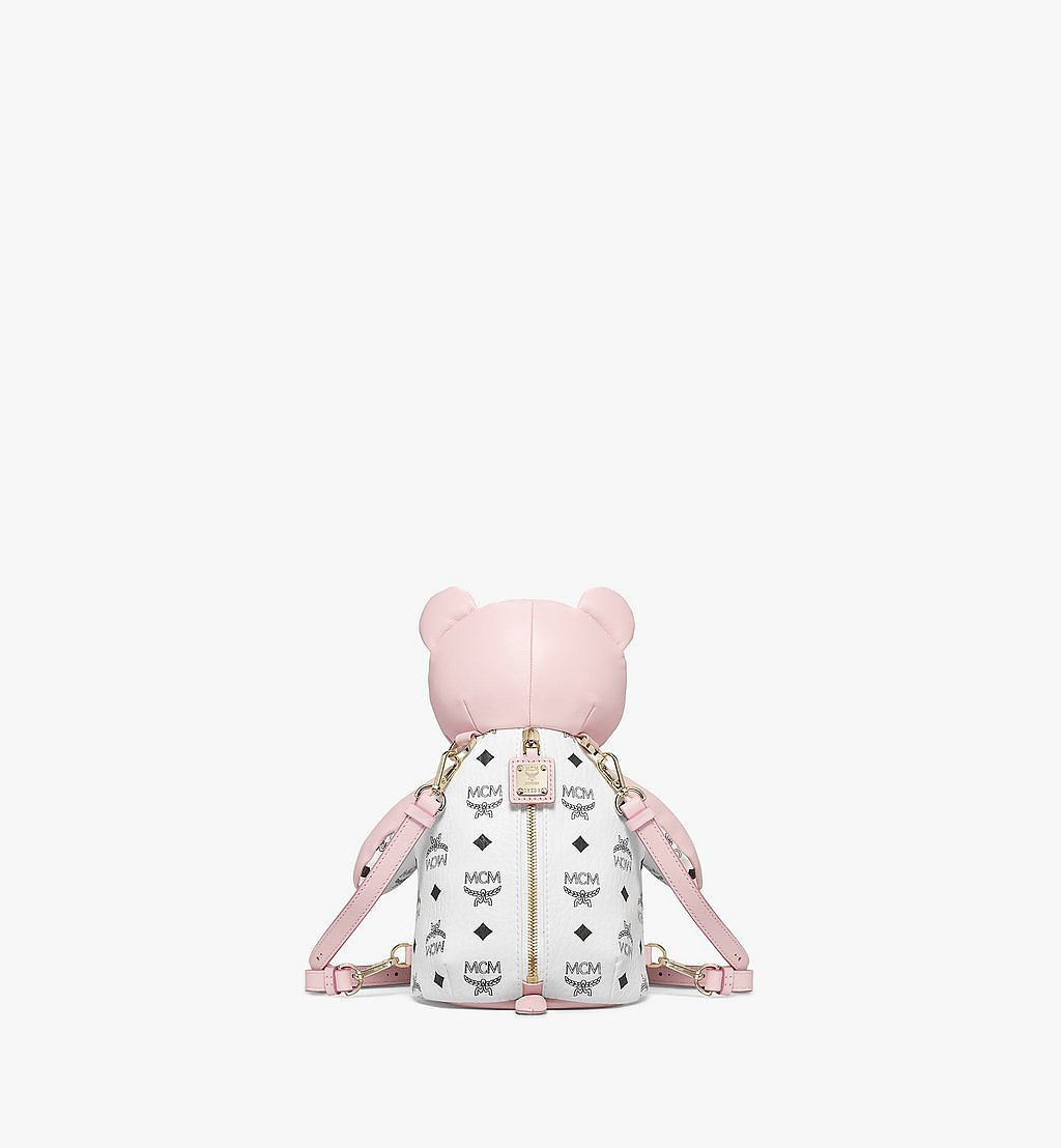 MCM MCM Zoo Bear Backpack in Visetos Leather Mix Pink MWKBSXL01QH001 Alternate View 3