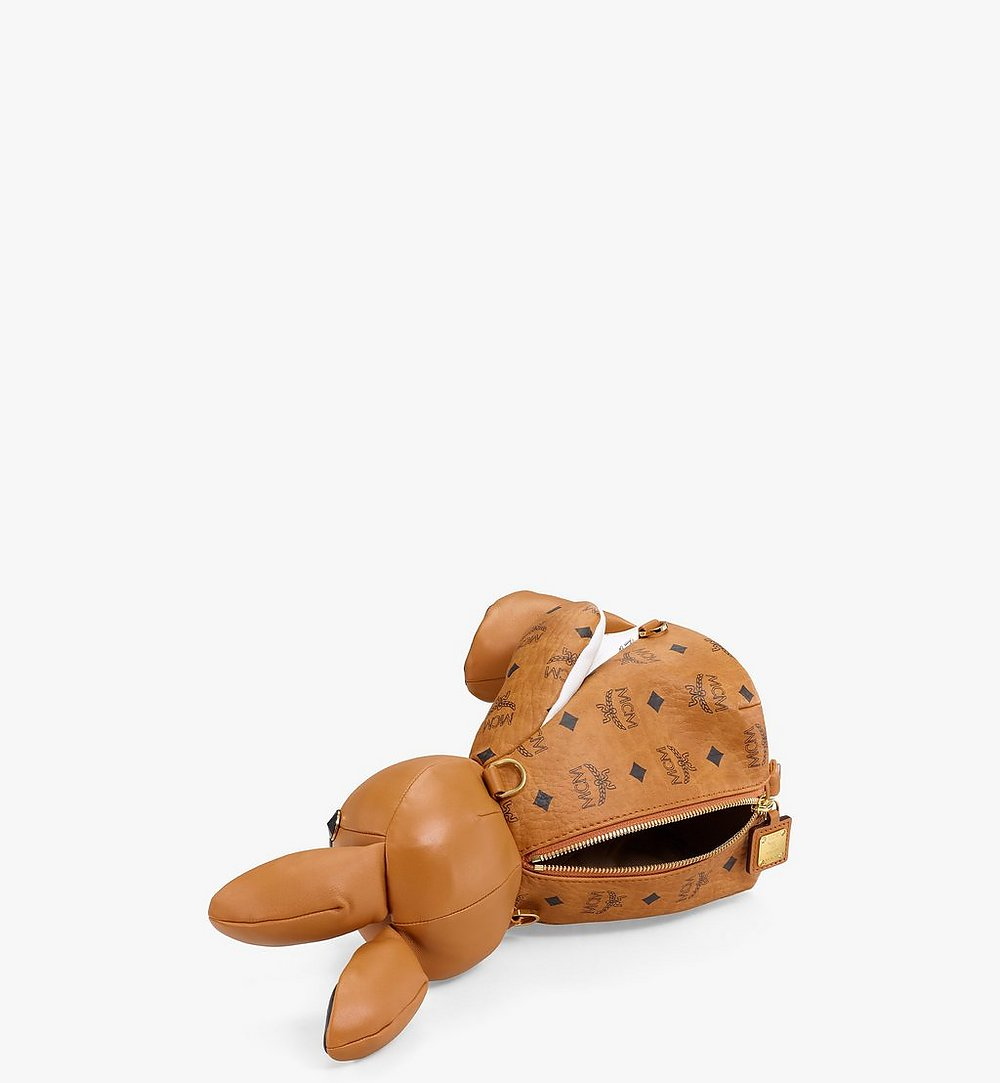 MCM MCM Zoo Rabbit Backpack in Visetos Leather Mix Cognac MWKBSXL02CO001 Alternate View 2