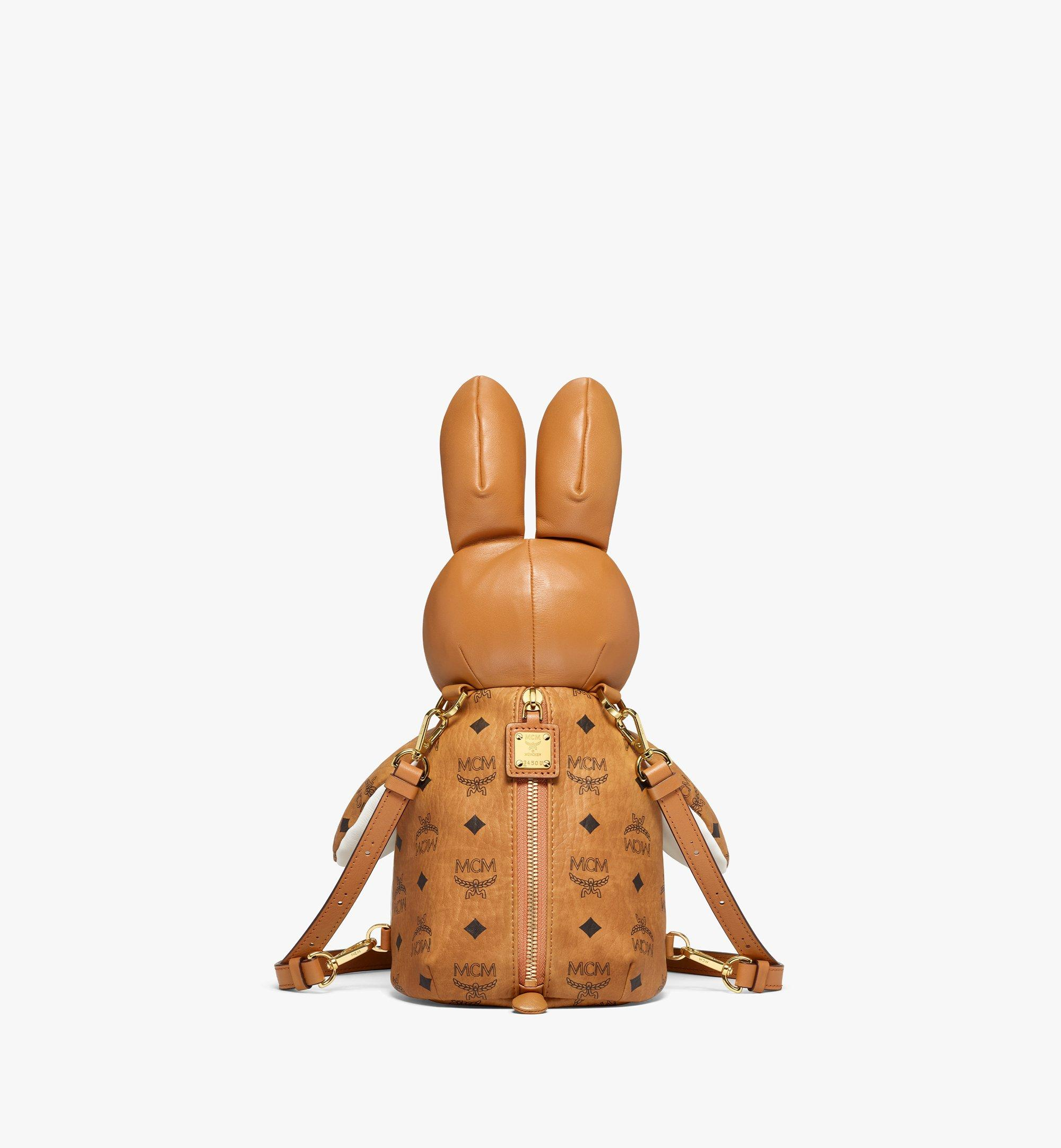 MCM MCM Zoo Rabbit Backpack in Visetos Leather Mix Cognac MWKBSXL02CO001 Alternate View 3