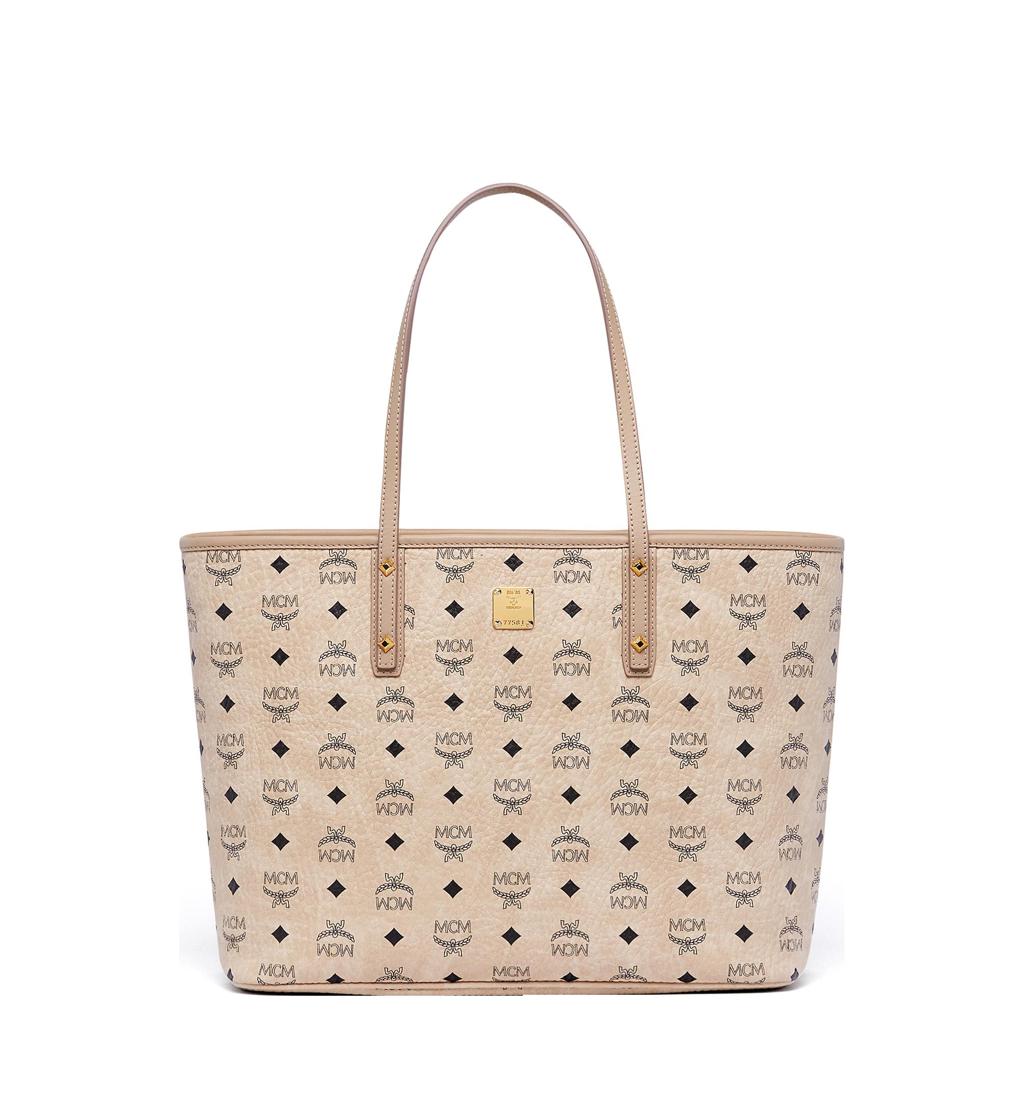 Medium Anya Top Zip Shopper in Visetos Beige | MCM® DE