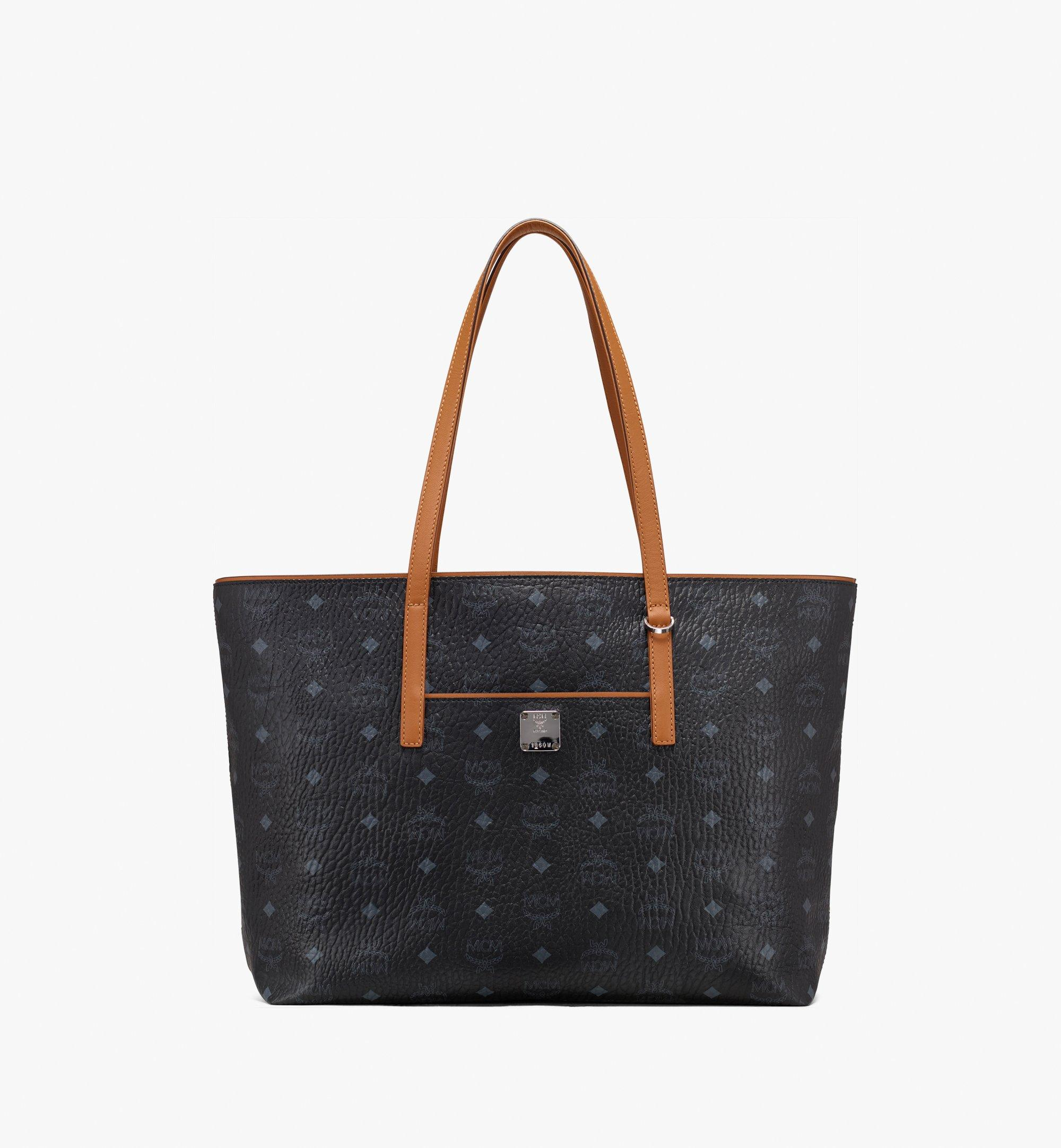 MCM Anya Top Zip Shopper in Visetos Black MWP9SVI61BK001 Alternate View 1