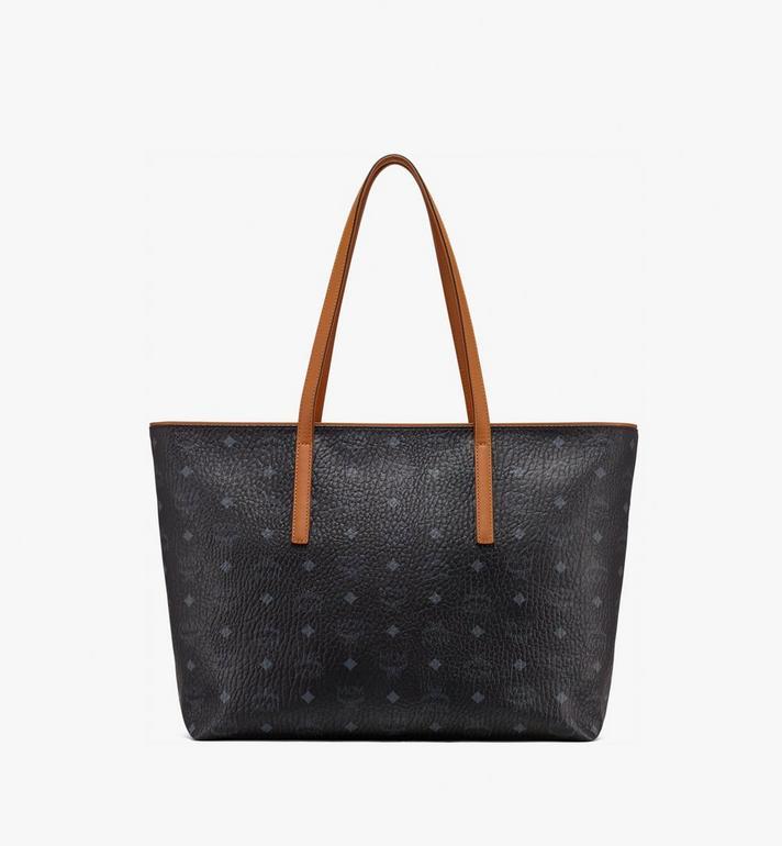 MCM Anya Top Zip Shopper in Visetos Black MWP9SVI61BK001 Alternate View 3