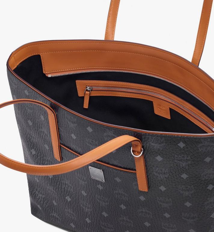 MCM Anya Top Zip Shopper in Visetos Black MWP9SVI61BK001 Alternate View 4