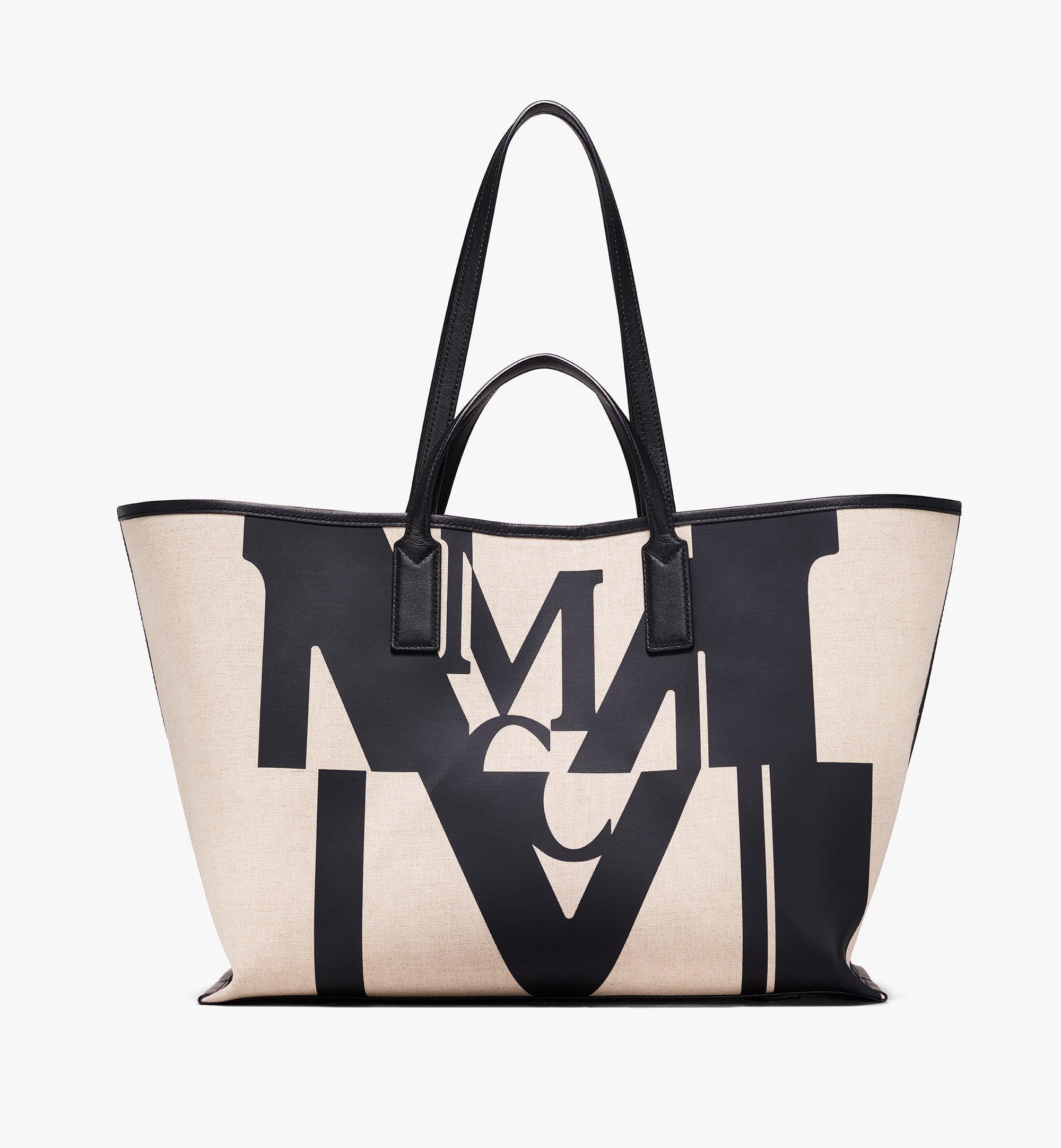 MCM Shopper in Logo Glitch Canvas Black MWPAAMH01BK001 Alternate View 1