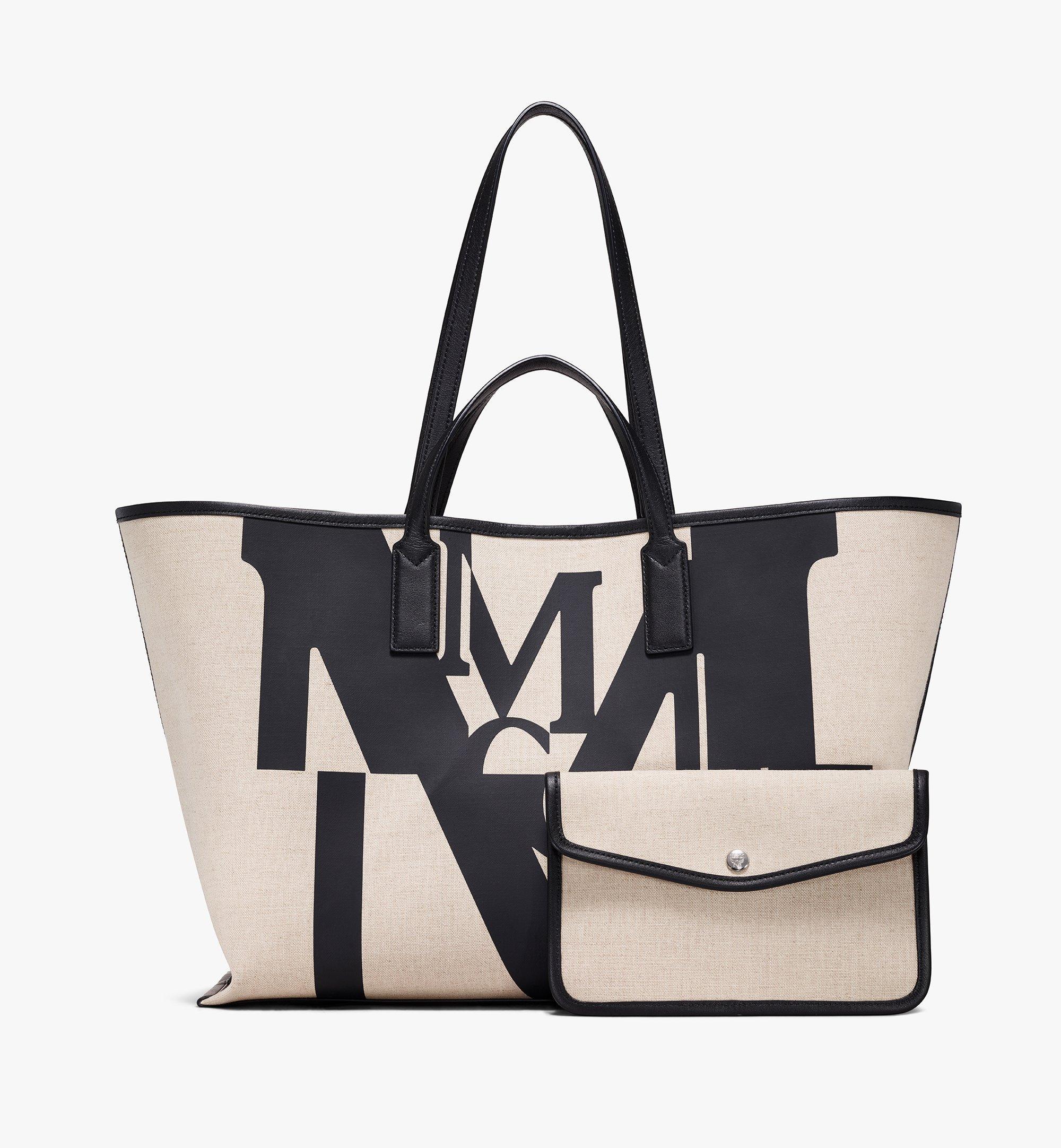 MCM Shopper in Logo Glitch Canvas Black MWPAAMH01BK001 Alternate View 5