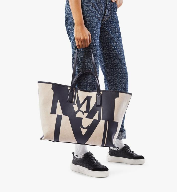 MCM Shopper in Logo Glitch Canvas Black MWPAAMH01BK001 Alternate View 7