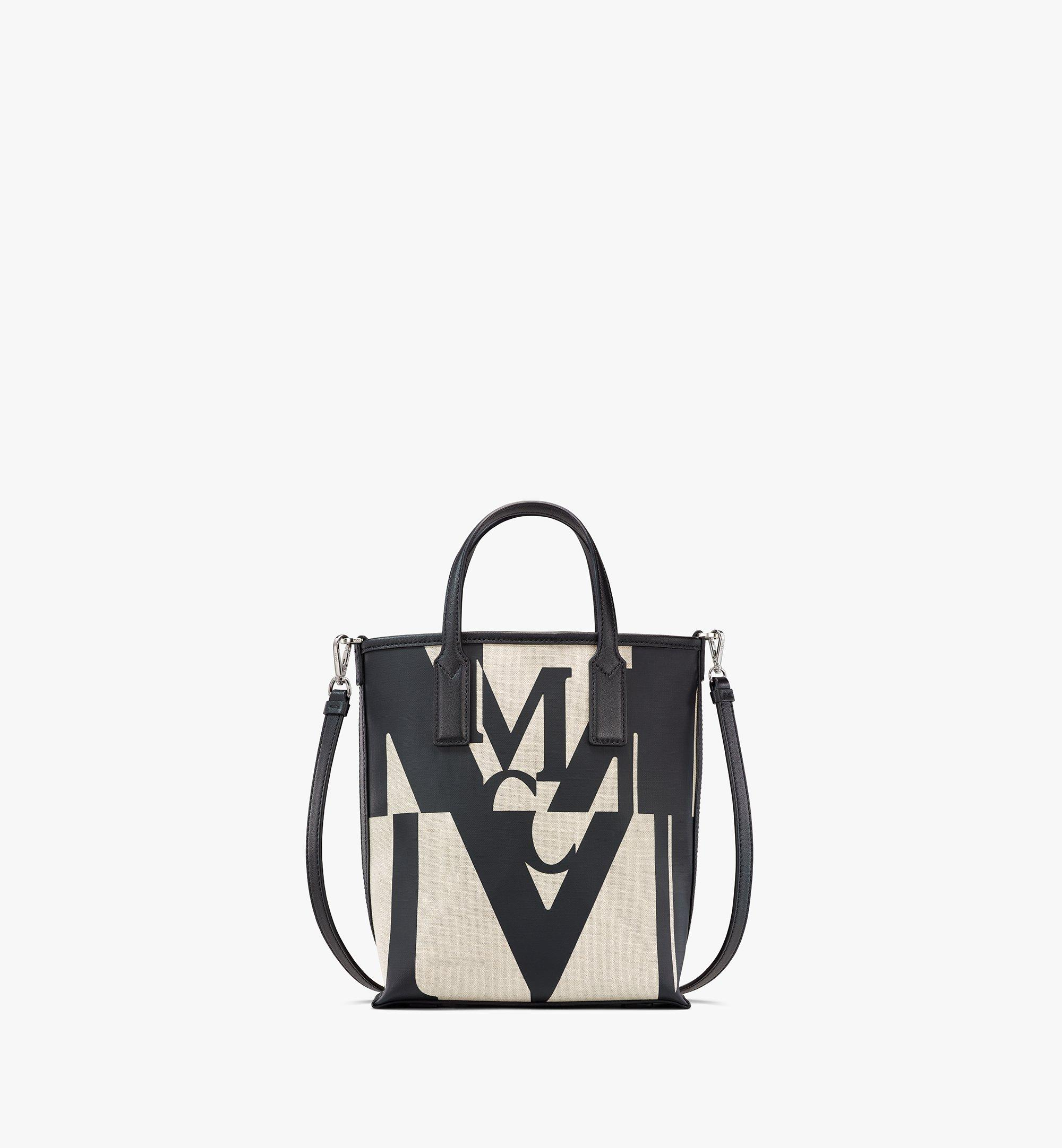 MCM Shopper in Logo Glitch Canvas Black MWPAAMH02BK001 Alternate View 1