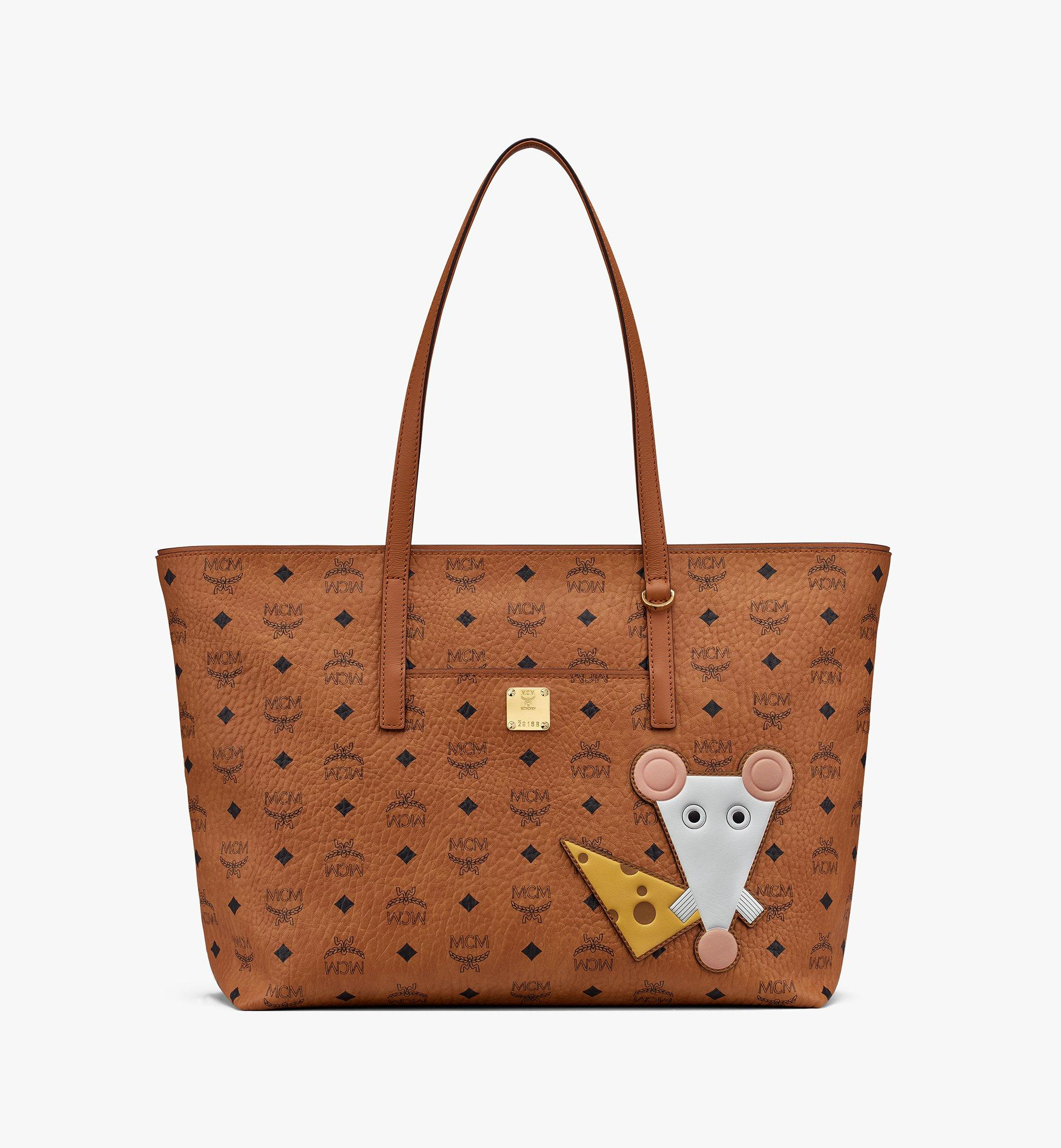 Medium Year Of The Mouse Anya Shopper in Visetos Cognac