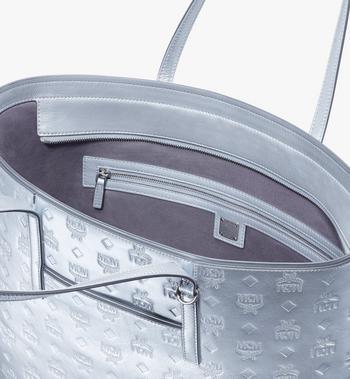MCM Anya Shopper in Monogram Metallic Leather Silver MWPASXS02SE001 Alternate View 4