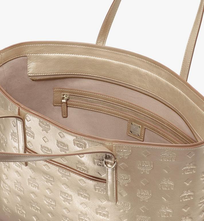 MCM Anya Shopper in Monogram Metallic Leather Gold MWPASXS02T1001 Alternate View 4