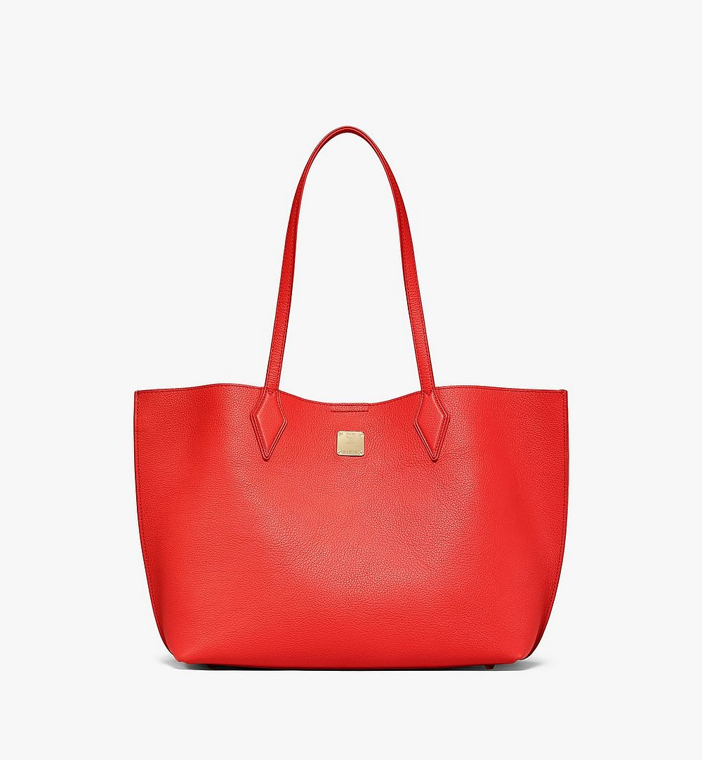 MCM Yris Shopper in Tani Leather Red MWPBSYS01R8001 Alternate View 1