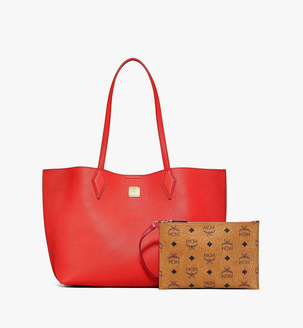 MCM Yris Shopper in Tani Leather Red MWPBSYS01R8001 Alternate View 4
