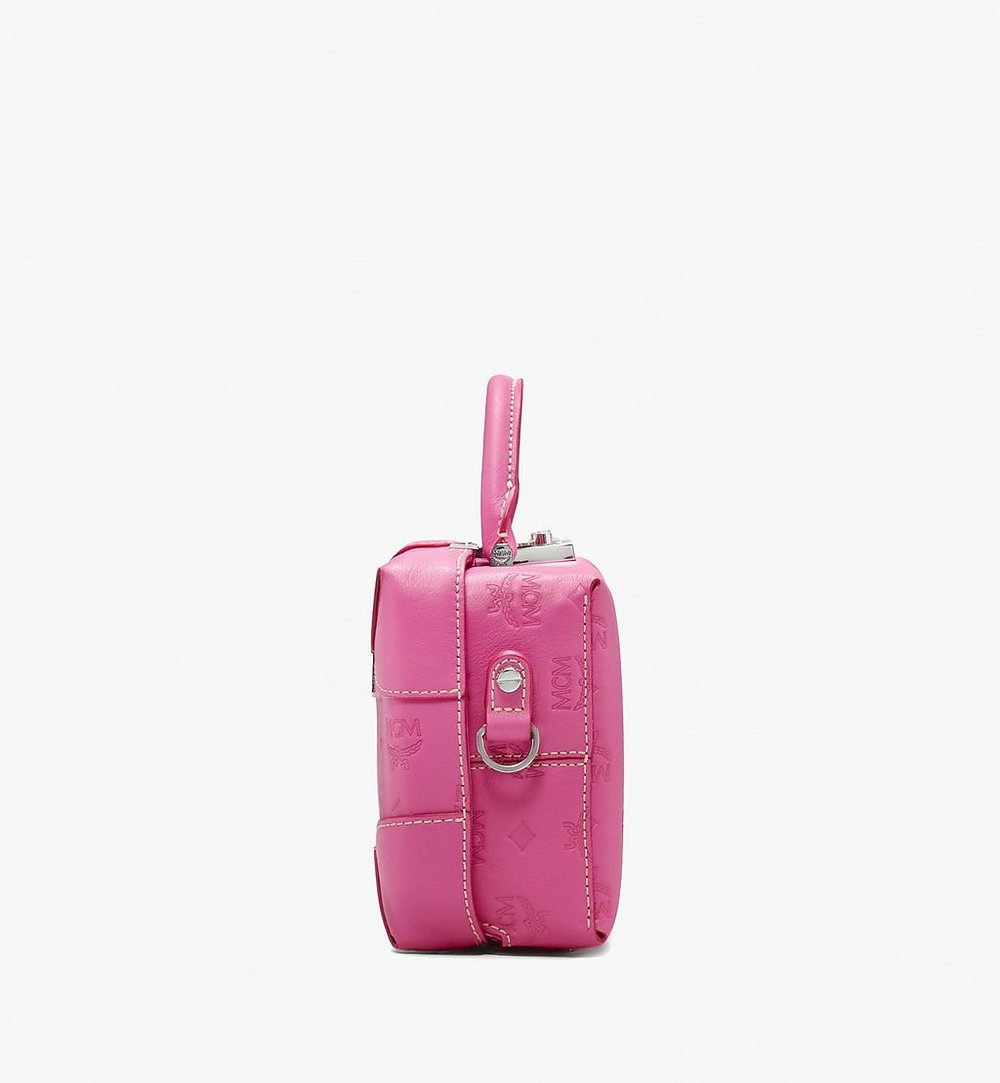 MCM Soft Berlin Crossbody Bag in Monogram Leather Pink MWR9ABF25QS001 Alternate View 1