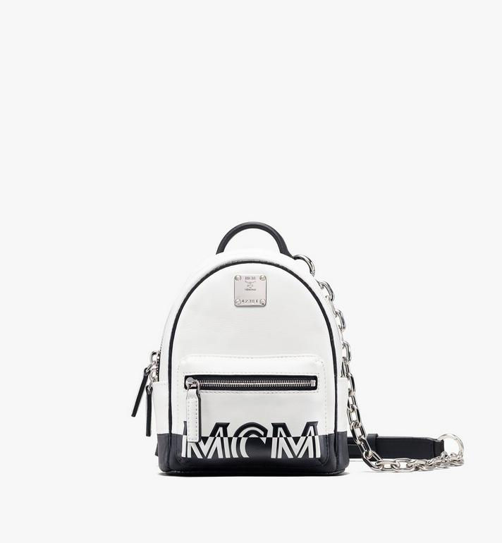 MCM Mini Crossbody Backpack in Contrast Logo Leather Alternate View