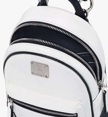 MCM Crossbody Minirucksack aus Leder mit kontrastierendem Logo  MWR9ACL11WT001 Alternate View 4
