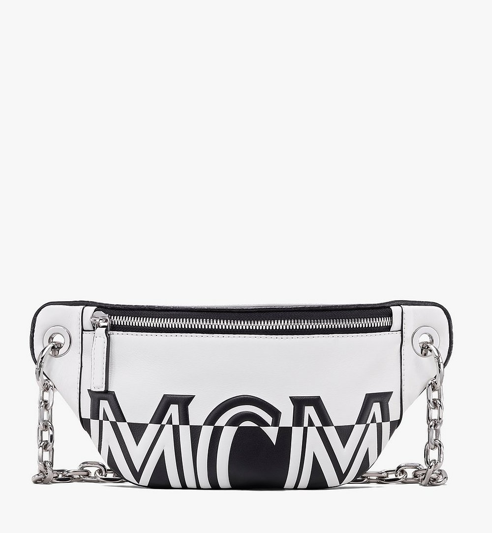 MCM Mini Crossbody Bag in Contrast Logo Leather White MWR9ACL12WT001 Alternate View 1