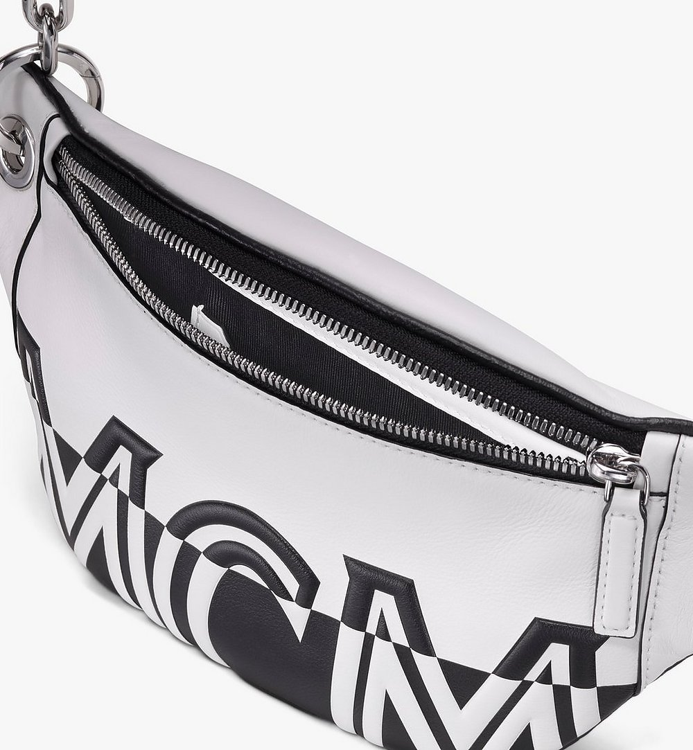MCM Mini Crossbody Bag in Contrast Logo Leather White MWR9ACL12WT001 Alternate View 2