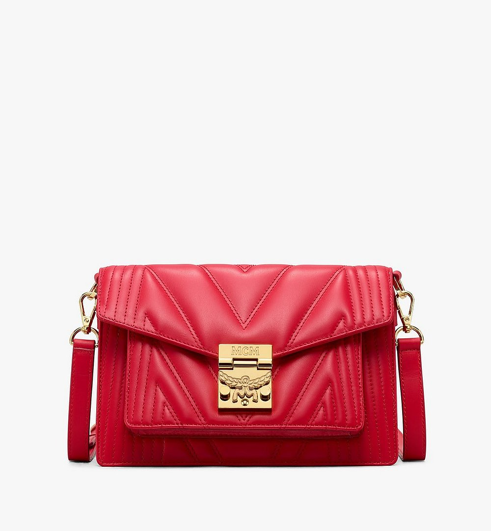 MCM Patricia Crossbody Bag in Quilted Leather Red MWR9APA86RU001 Alternate View 1