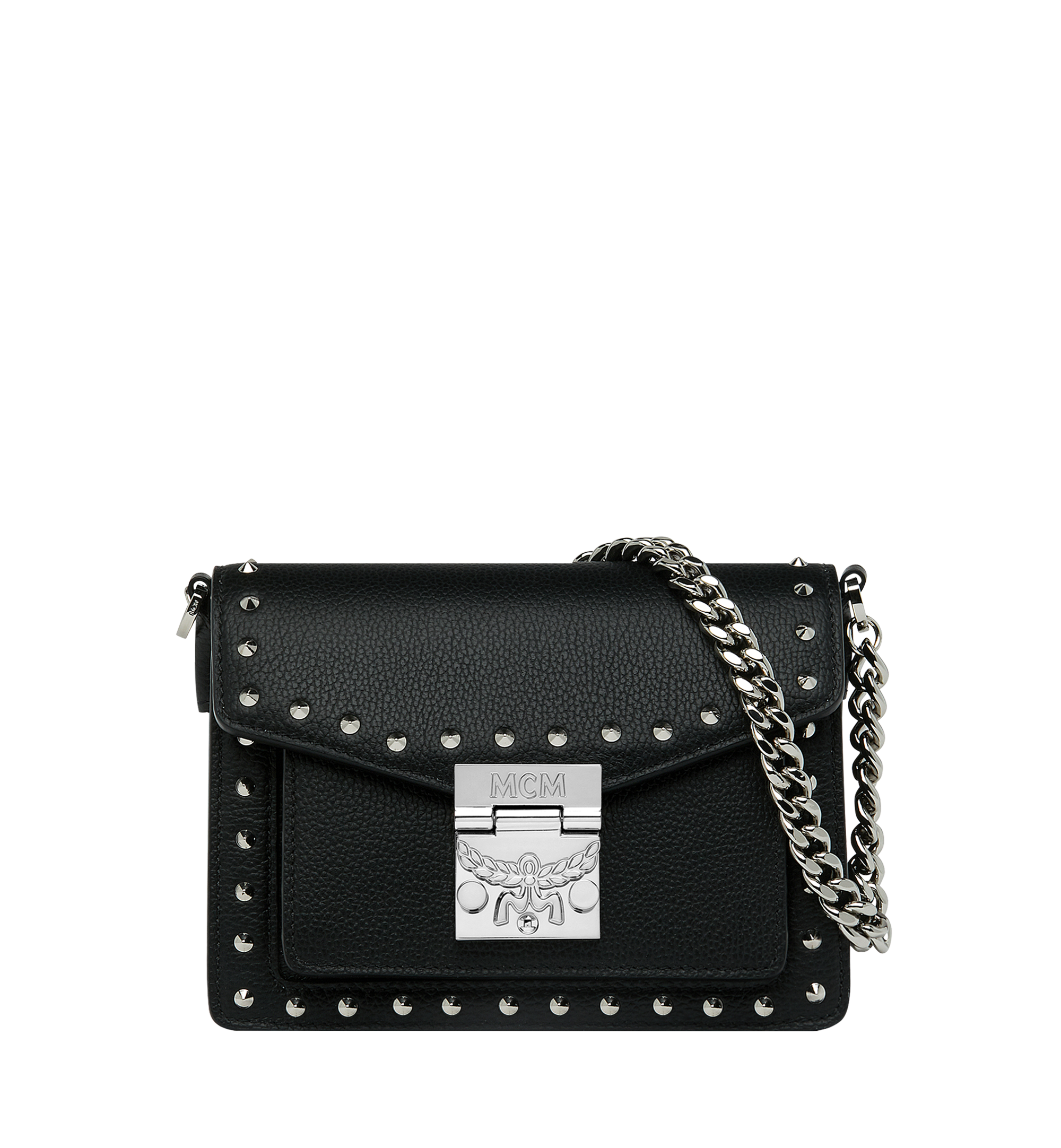MCM Patricia Crossbody in Studded Outline Leather Black MWR9SPA13BK001 Alternate View 1