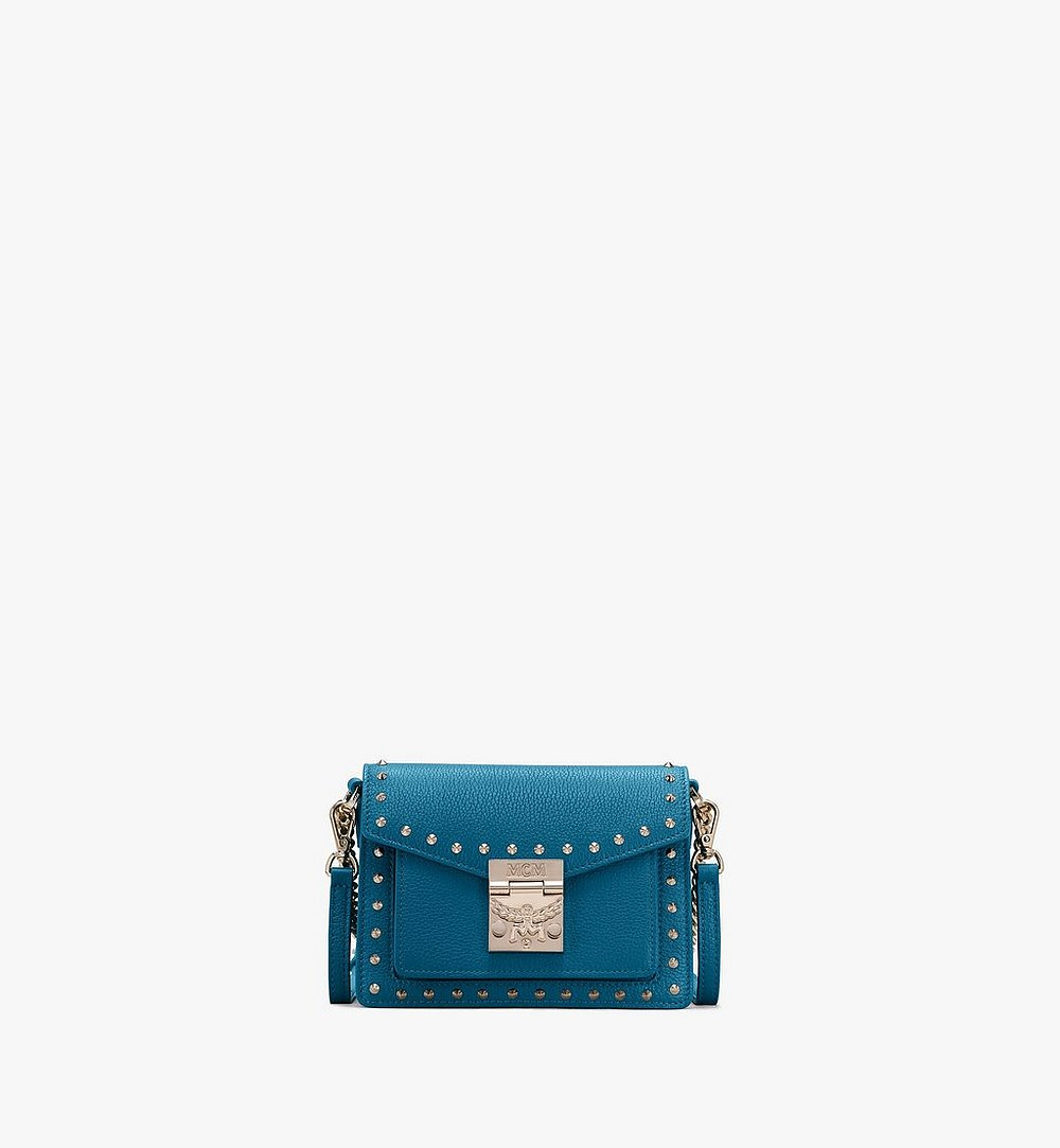 MCM Patricia Crossbody in Studded Park Ave Leather Blue MWR9SPA13JF001 Alternate View 1