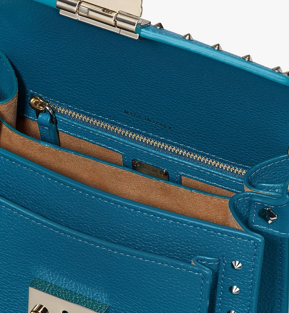 MCM Patricia Crossbody in Studded Park Ave Leather Blue MWR9SPA13JF001 Alternate View 3