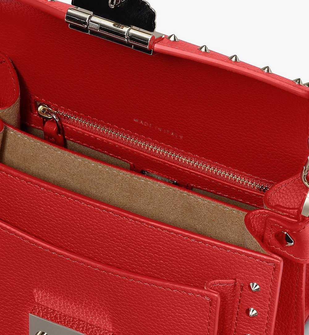MCM Patricia Crossbody in Studded Park Ave Leather Red MWR9SPA13R4001 Alternate View 3