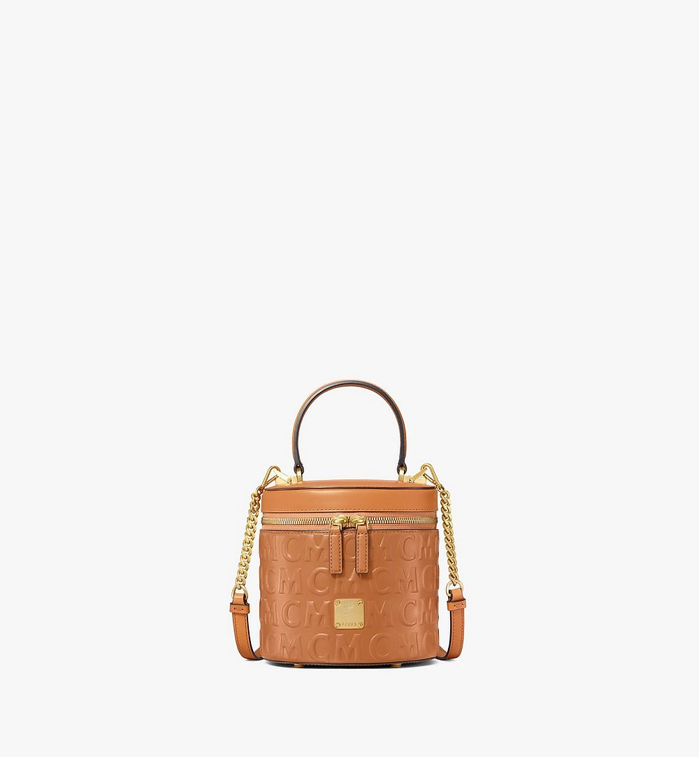 MCM Cylinder Crossbody in MCM Monogram Leather Cognac MWRAACG05CO001 Alternate View 1