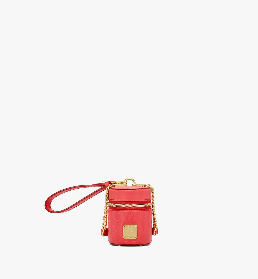 MCM Cylinder Crossbody in MCM Monogram Leather Red MWRAACG06RP001 Alternate View 1