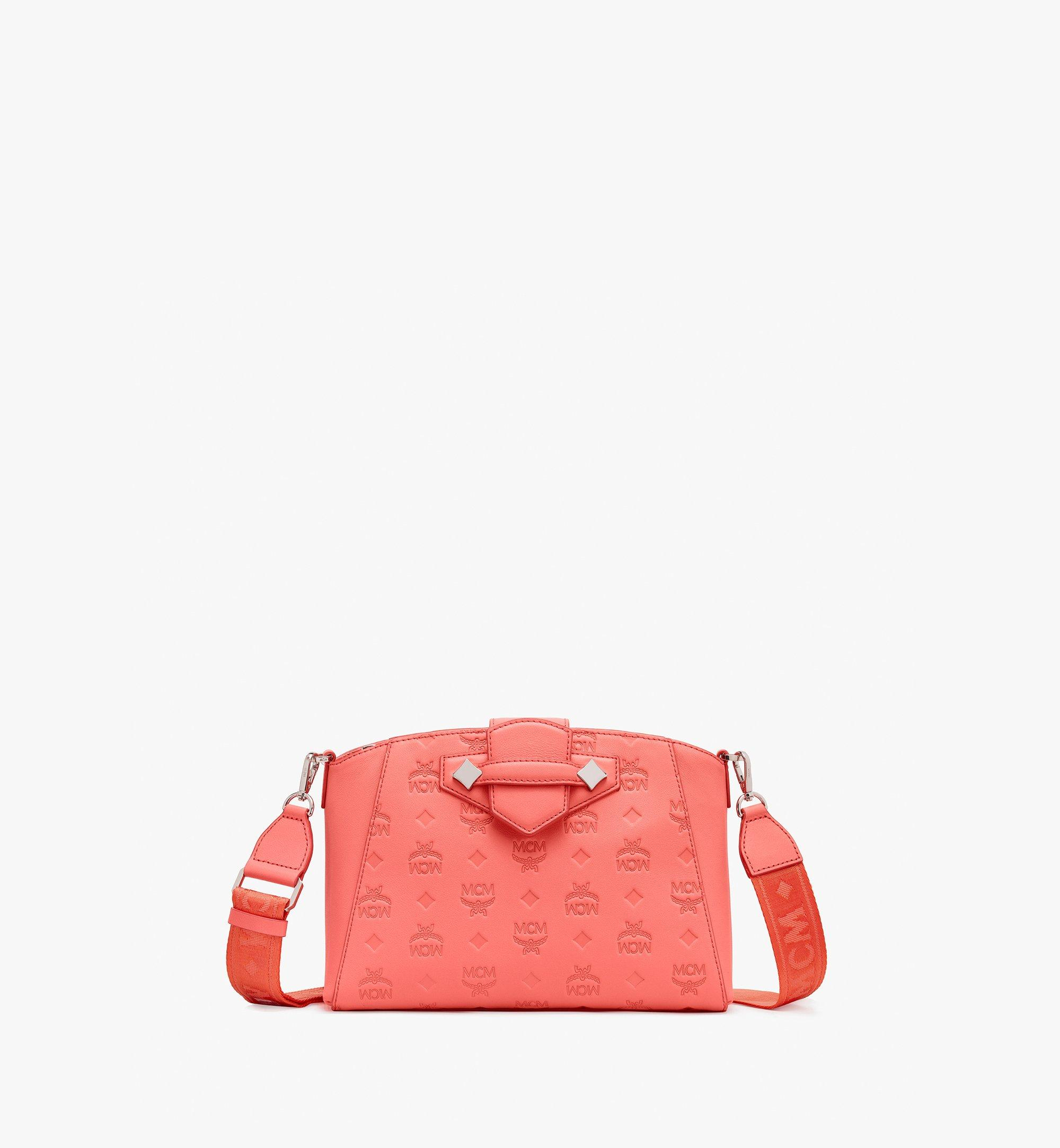 Small Essential Crossbody Bag in Monogram Leather Hot Coral