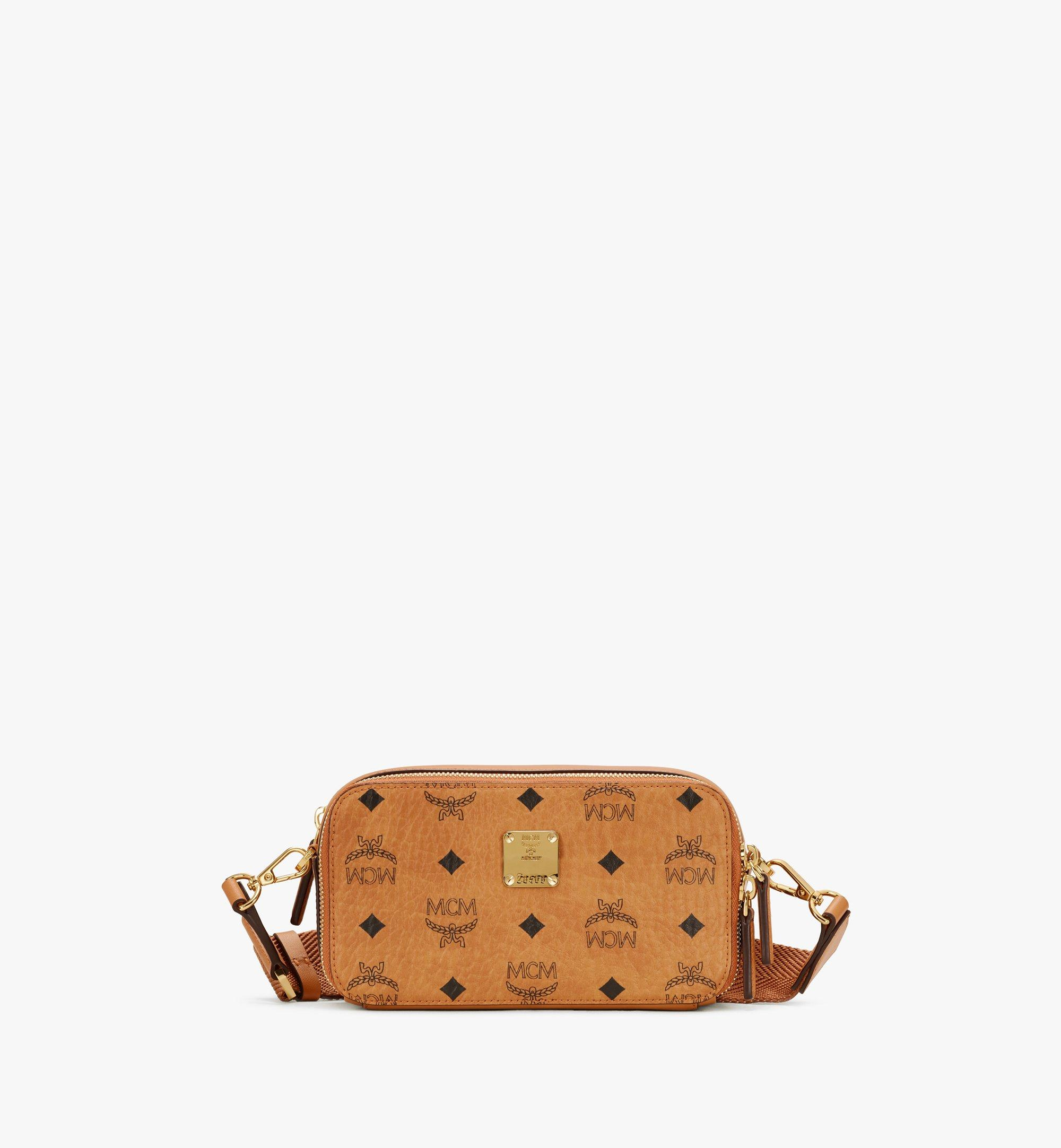 MCM E/W Camera Bag in Visetos Cognac MWRASVI03CO001 Alternate View 1