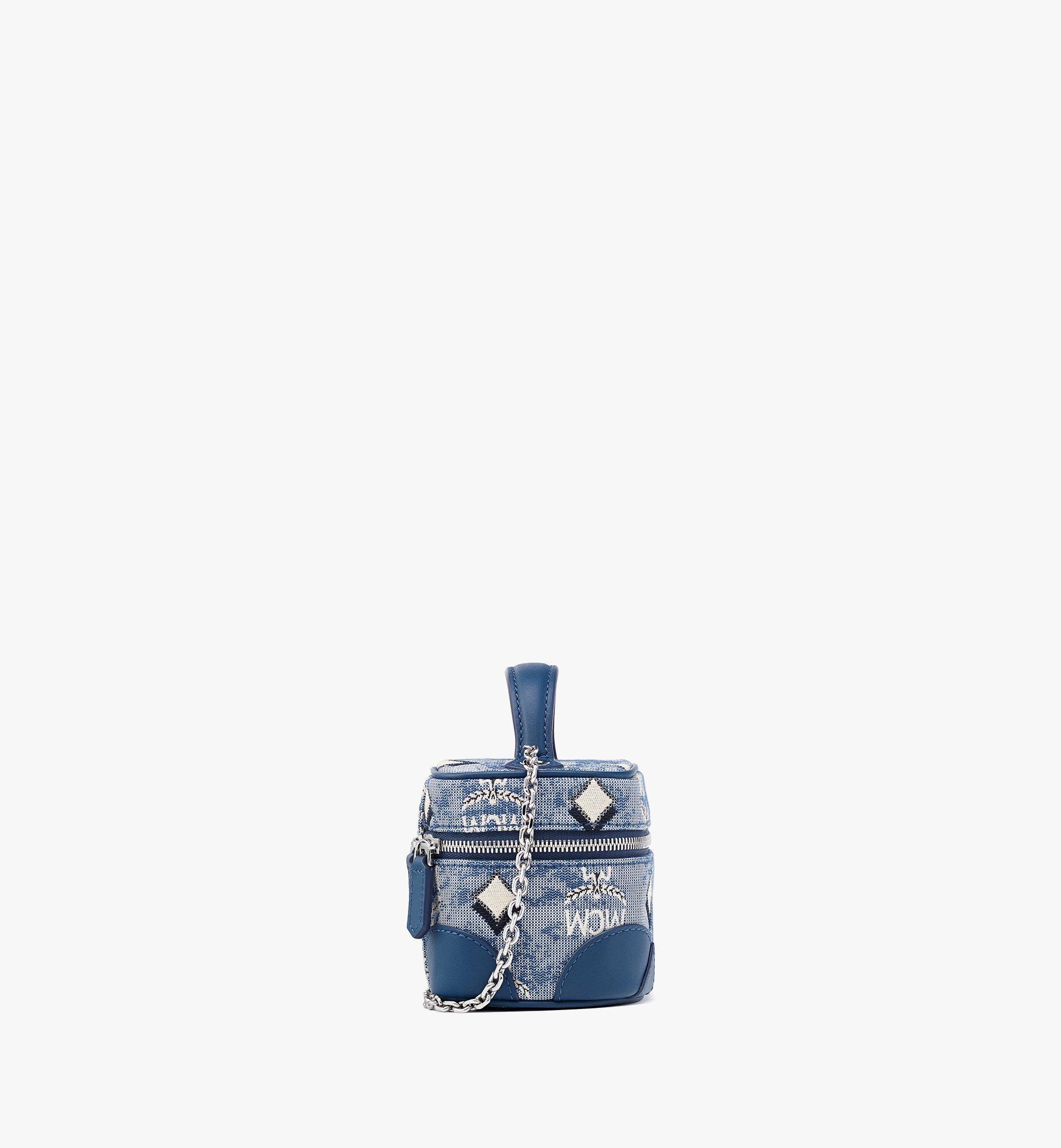 MCM Rockstar Vanity Case in Vintage Jacquard Monogram Blue MWRBATQ02LU001 Alternate View 1