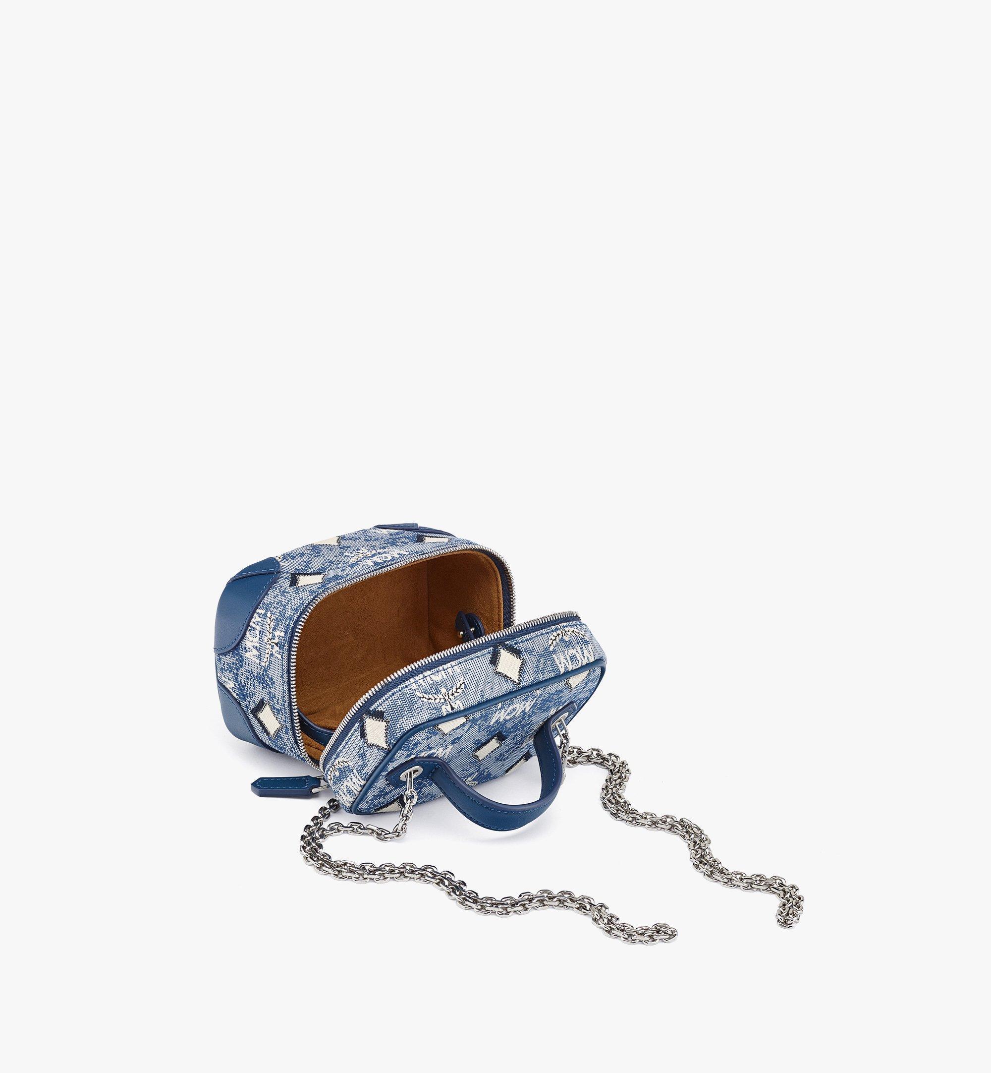 MCM Rockstar Vanity Case in Vintage Jacquard Monogram Blue MWRBATQ02LU001 Alternate View 2