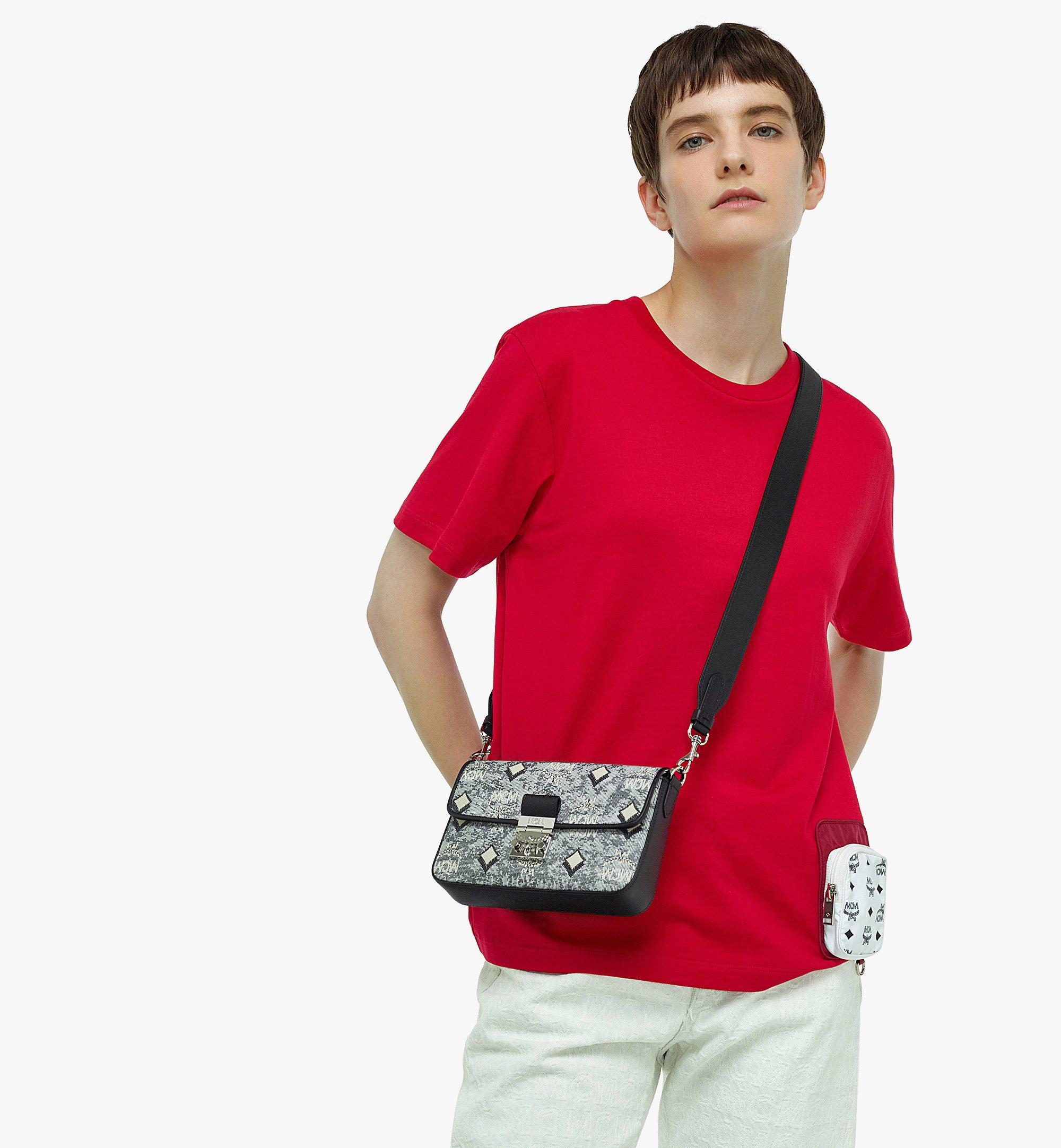 MCM Crossbody-Tasche aus Vintage-Jacquard mit Monogramm Grey MWRBATQ04EG001 Noch mehr sehen 2