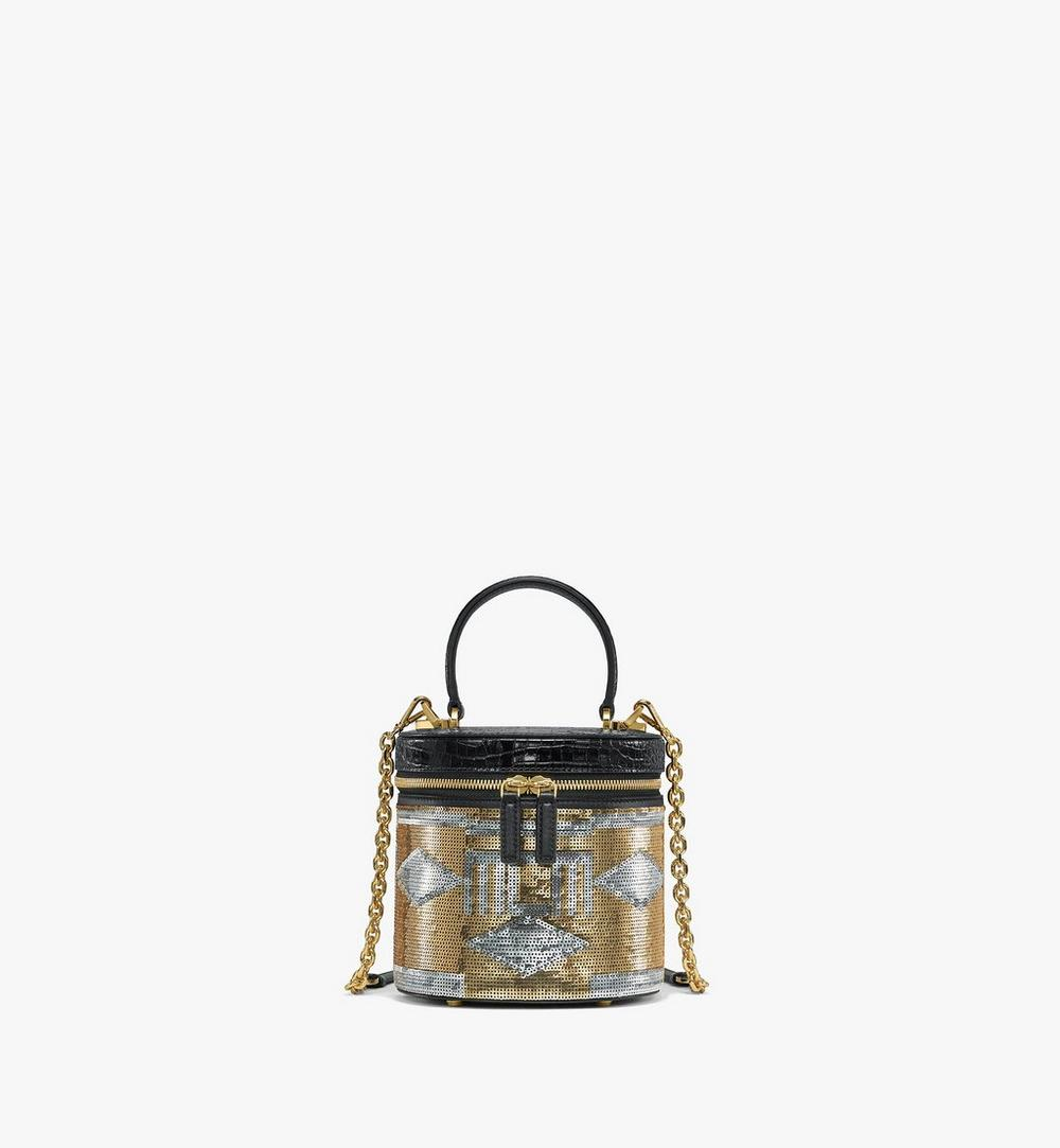 Cylinder Crossbody Bag in Geo Croco Sequin Leather 1