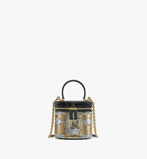 Cylinder Crossbody Bag in Geo Croco Sequin Leather