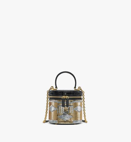 Cylinder Crossbody-Tasche aus Geo Croco Sequin Leder
