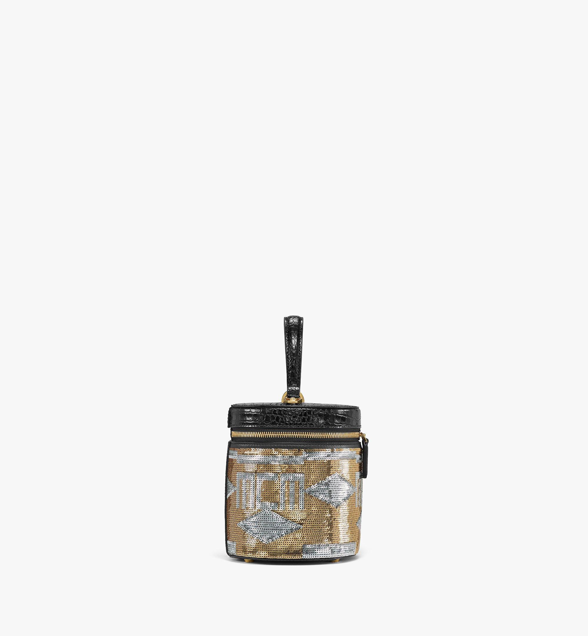 MCM Zylinderförmige Crossbody-Tasche aus Geo Croco Sequin Leder Gold MWRBSCG01T1001 Noch mehr sehen 1