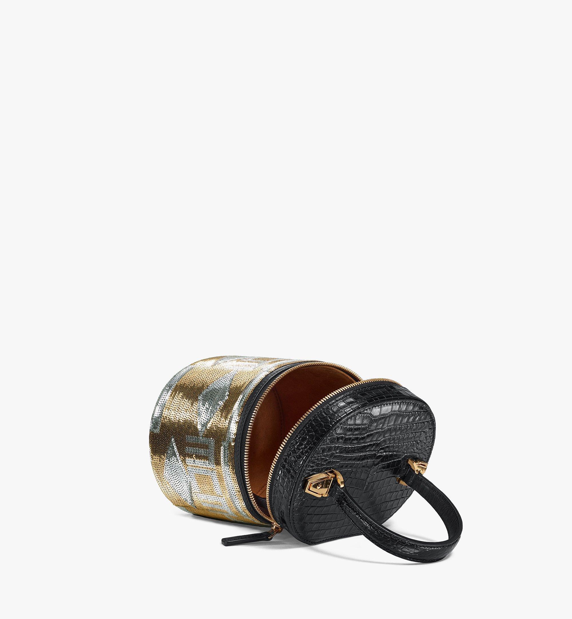 MCM Zylinderförmige Crossbody-Tasche aus Geo Croco Sequin Leder Gold MWRBSCG01T1001 Noch mehr sehen 2