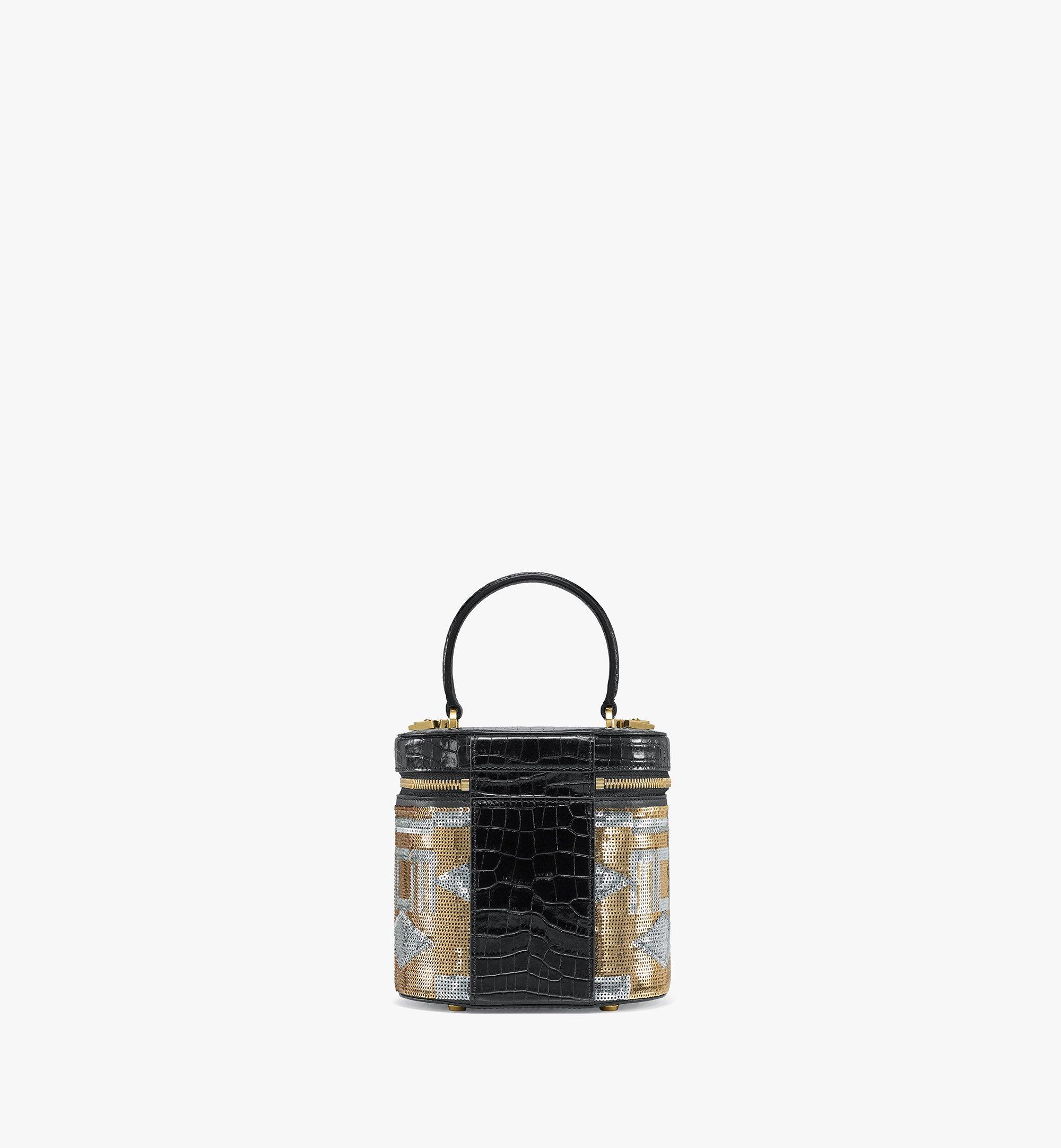 MCM Zylinderförmige Crossbody-Tasche aus Geo Croco Sequin Leder Gold MWRBSCG01T1001 Noch mehr sehen 3