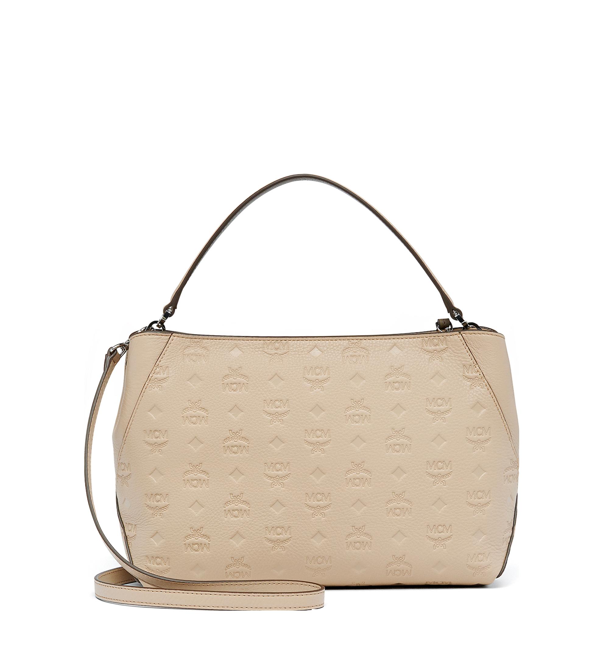 Medium Klara Shoulder in Monogram Leather New Beige | MCM® DE