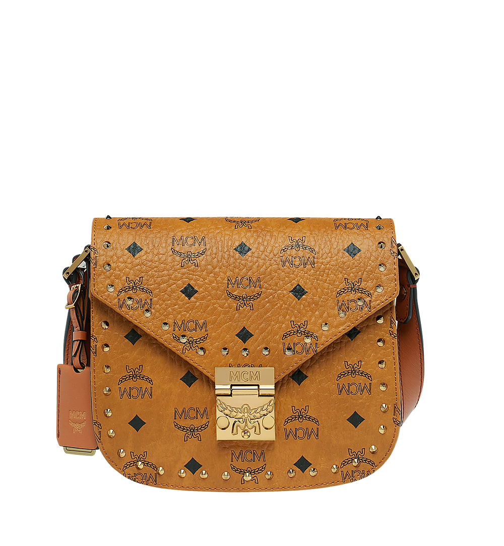 MCM Patricia Shoulder Bag in Studded Outline Visetos Cognac MWS8APA24CO001 Alternate View 1