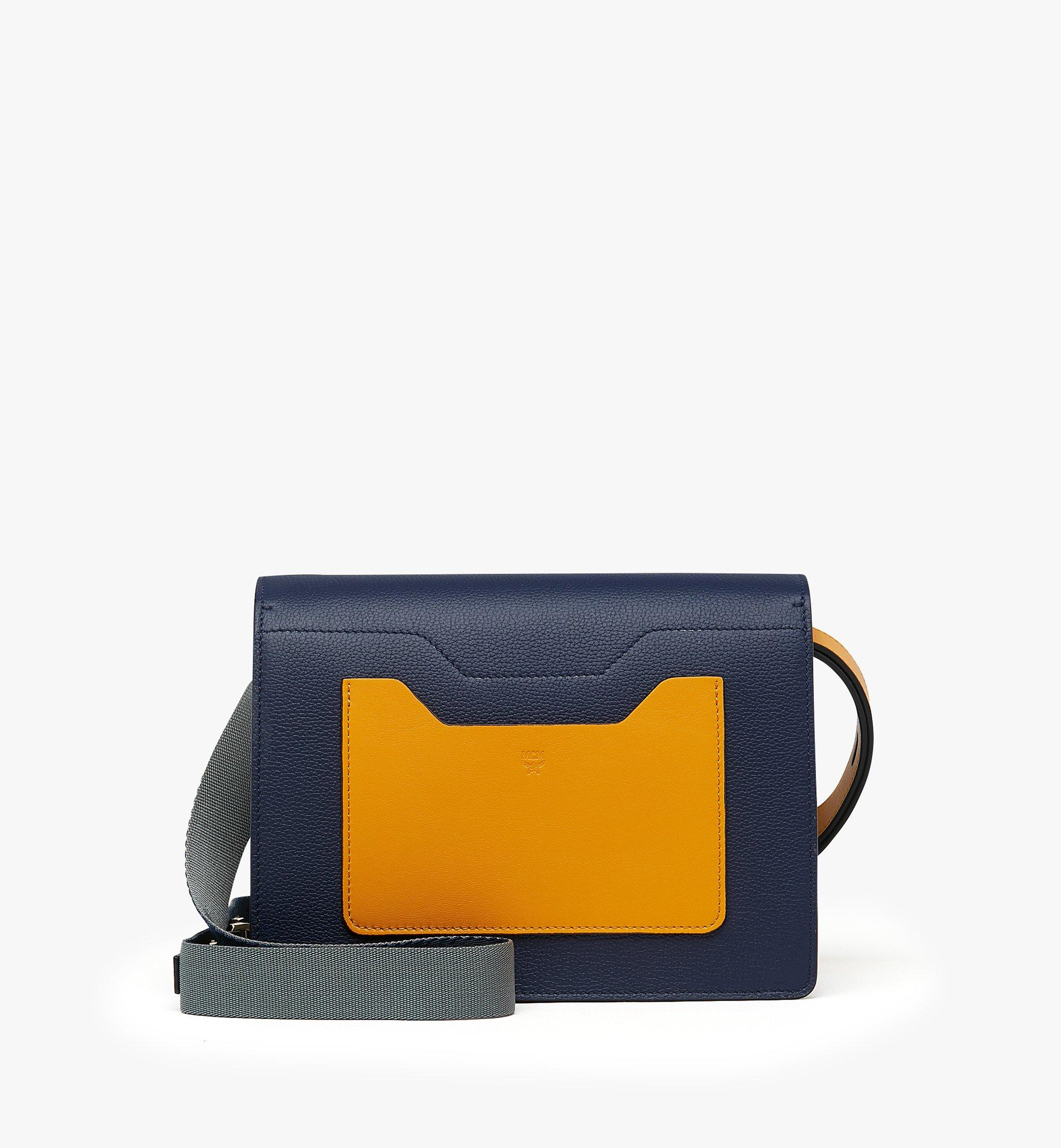 MCM Milano Shoulder Bag in Calfskin Leather Blue MWS9ADA22VA001 Alternate View 3