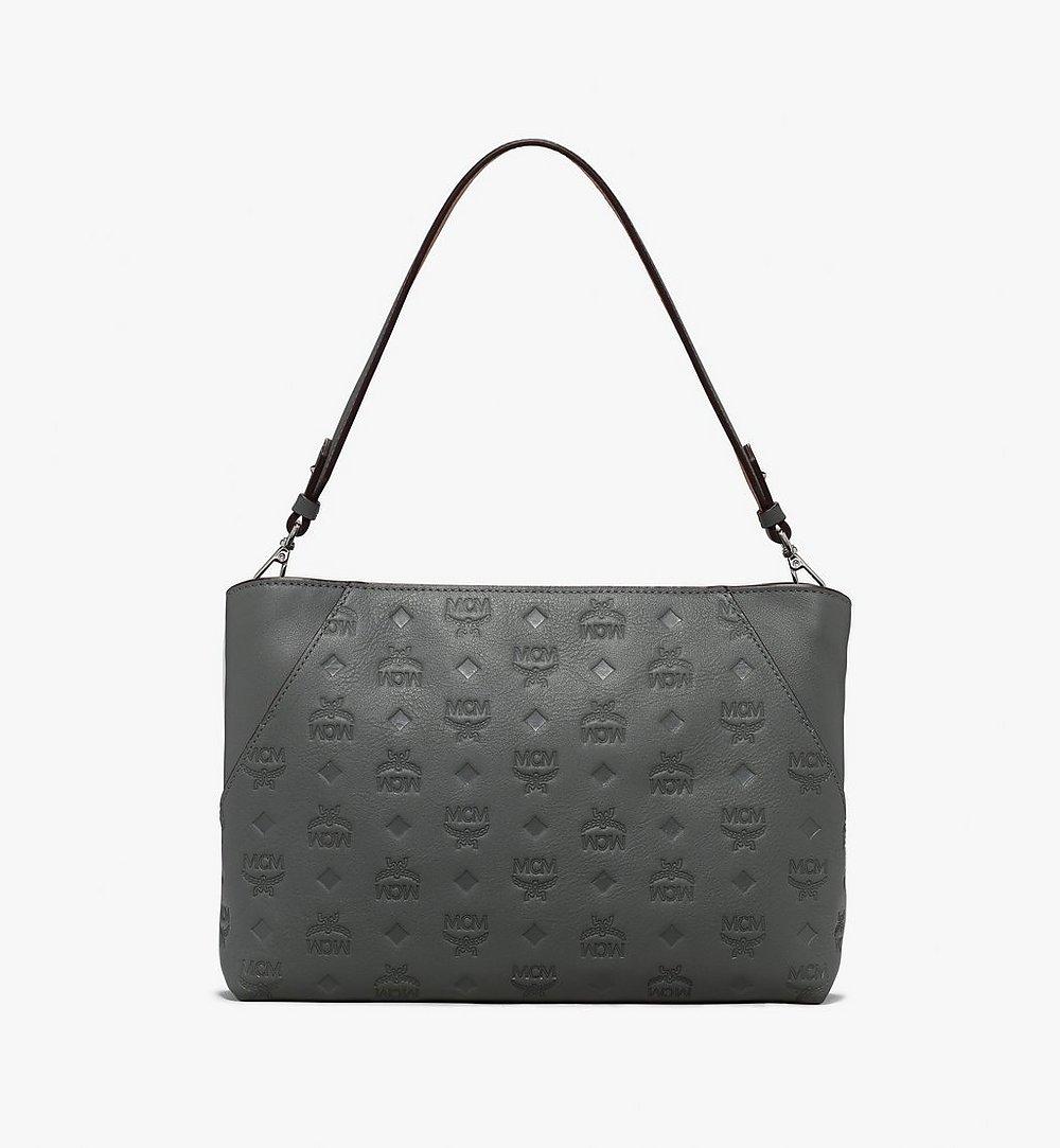 MCM Klara Shoulder Bag in Monogram Leather Grey MWS9AKM79EC001 Alternate View 1