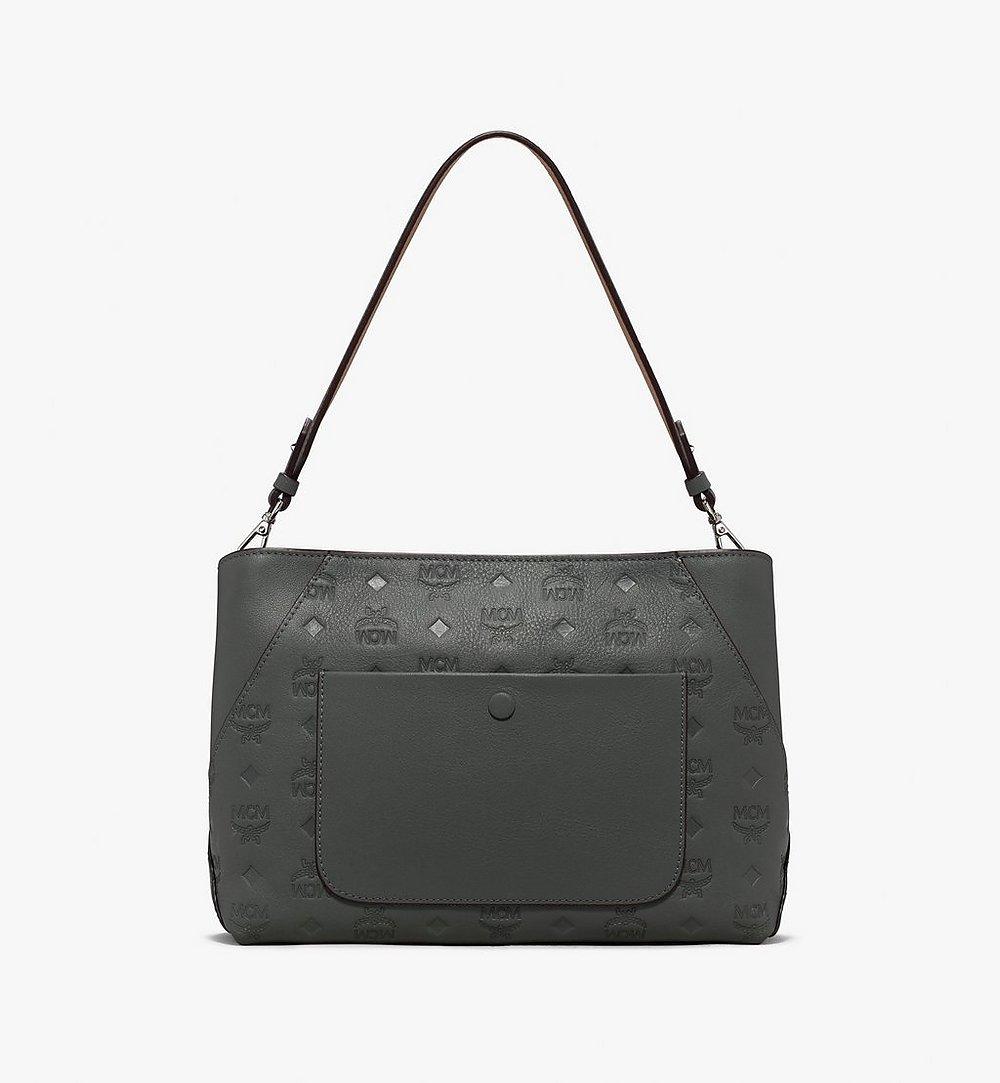 MCM Klara Shoulder Bag in Monogram Leather Grey MWS9AKM79EC001 Alternate View 2