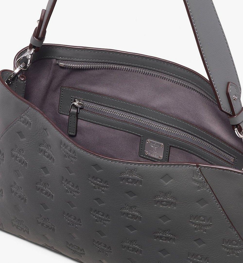 MCM Klara Shoulder Bag in Monogram Leather Grey MWS9AKM79EC001 Alternate View 3