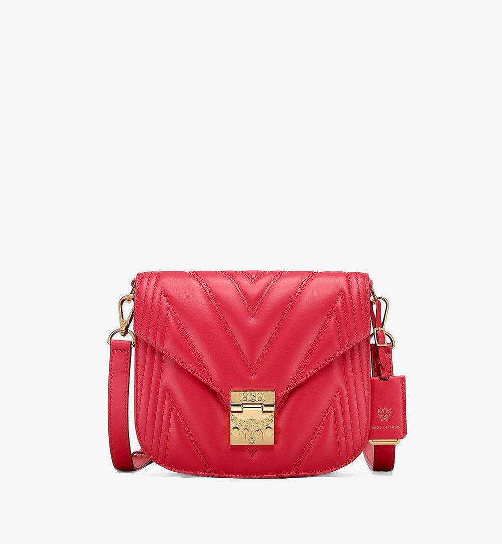 MCM Patricia Shoulder Bag in Quilted Leather Red MWS9APA81RU001 Alternate View 1