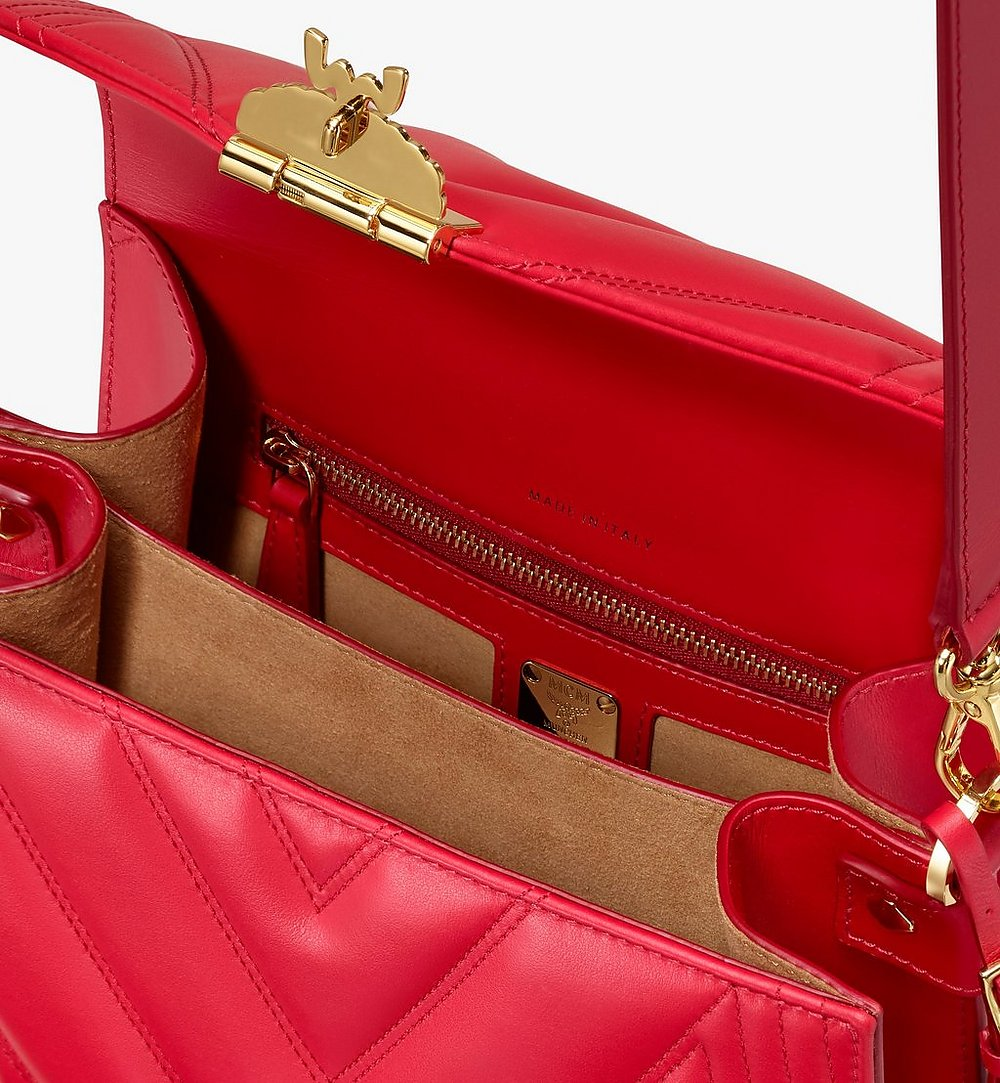 MCM Patricia Shoulder Bag in Quilted Leather Red MWS9APA81RU001 Alternate View 3