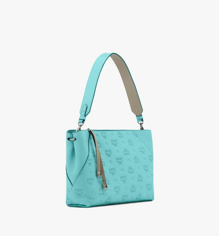 MCM Klara Shoulder Bag in Monogram Leather Blue MWS9SKM79H3001 Alternate View 2